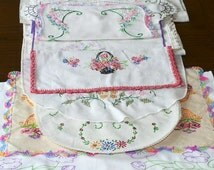 Embroidered Linens Doilies Table Runners Pillowcase Ends, DESTASH UPCYCLE, Shabby Chic
