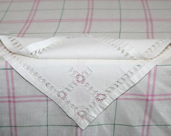 Cream Luncheon Napkins with Drawn Work Embroidery