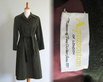 Gorgeous 80s Loden Green Wool Coat by Aquascutum - Vintage Aquascutum Coat - Vintage 1980s Coat M