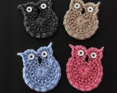 Crochet Owl Applique or Decoration - assorted colors - ready to ship