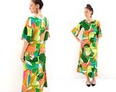 vintage 60s mod MALAHINI hawaiian MAXI dress M