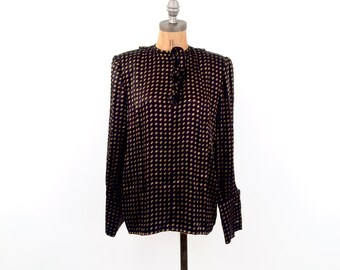 vintage VALENTINO black + gold FRENCH cuff BLOUSE M