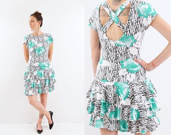 vintage 80s TEAL floral new wave RUFFLE open back dress S-M