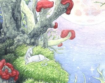 "Limited Edition Archival ACEO Print ""Lichen Moon"" unicorn nature surreal fantasy art"