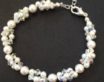 Pearl beaded bracelet bridal bracelet crystal bridesmaids gifts mothers day wedding jewellery jewelry bangle classic