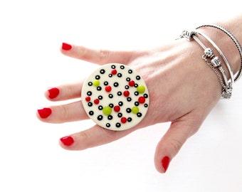 Big Ceramic Ring  - big ring  bold ring, oversize ring, handmade ring Fall fashion, polka dot statement jewelry