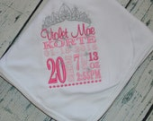 Custom Princess Baby Announcement Receiving Blanket  Personalized Birth Stats