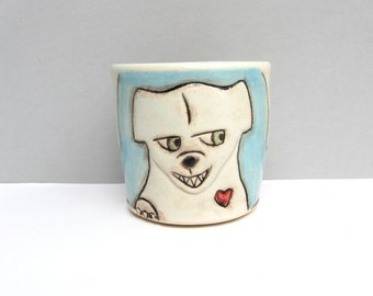 Dog Cup, Small Cup with Dog and Squirrel, Blue and White Child's Cup or Ceramic Shot Glass, Animal Pottery, The Squirrel Whisperer