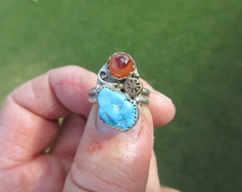Western Sterling Silver Turquoise and Red Agate Ring - Size 7 1/2