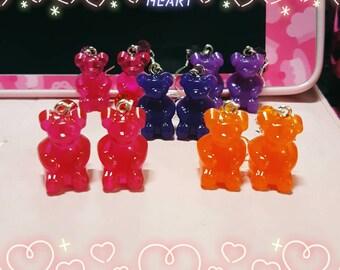 Juicy gummy bear earrings- Choose your favorite color!