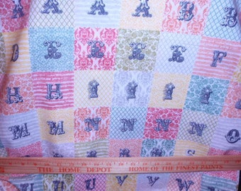 """Retro Victorian Alphabet and Numbers Novelty  100% Cotton Quilt Fabric 44"""" Wide By The Half Yard 1/2"""