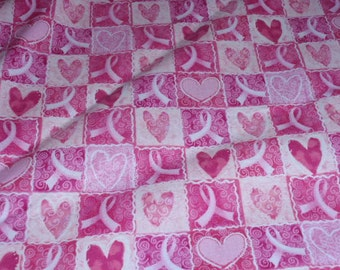"""Breast Cancer Awareness Pink Ribbons and Hearts in Squares Cotton Fabric 1/2 Yard Cotton 44"""" Wide"""