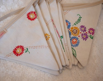 Vintage Tablecloth Bunting. Wedding Bunting. Embroidered Bunting. This strand is 5m long.