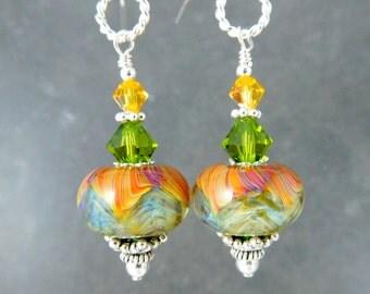 Olive Green Yellow Orange Glass Dangle Earrings, Boho Chic Earrings, Lampwork Earrings, Rustic, Earth Tones, Bohemian Jewelry Summer Jewelry
