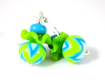 Chevron Stripe Ruffle Earrings, Geometric Dangle Earrings, Lime Green Turquoise Blue Glass Earrings Lampwork Earrings, Colorful Neon Jewelry