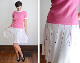 1960s White and Pink Dropwaist Dress - M