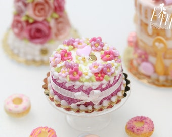 MTO- Pink Blossoms Cake, Pink Heart, Silk Ribbon Bow - 12th Scale Miniature Food (Pink Collection 2016)