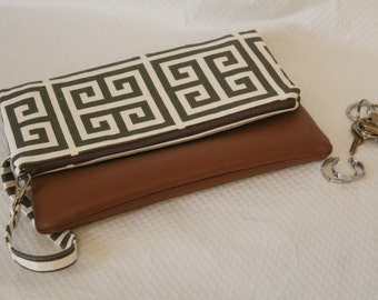 Fold Over Clutch, Brown Fold Over Clutch Purse, Zipper Clutch, Summer Clutch, Handmade Clutch, Ipad Case, Bridesmaid Gifts, Gift for Her