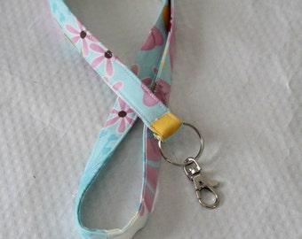 Floral Lanyard / Blue Lanyard / Badge Lanyard / Keychain / Key Lanyard / ID Badge Holder / Poppy Flowers / Teacher Lanyard / Pretty Lanyards