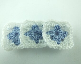 5 Pcs Handmade Crocheted Granny Square  ...Each Square Has 2 Rows...Crochet Pattern...White and Black Color