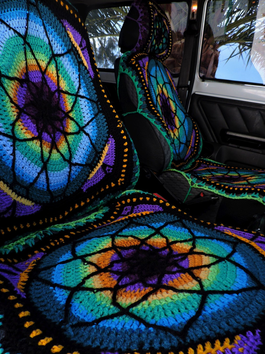 Vibrant Crochet Car Seat Cover Front Only