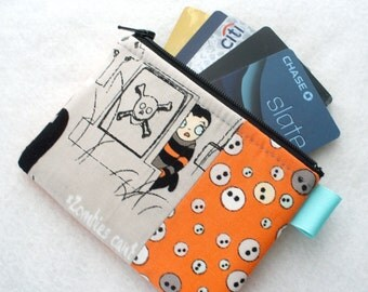 Zombie Apocalypse Fabric Credit Card Case Zipper Coin Purse Wallet Business Card Holder Green Orange Black Emily Taylor Tombstone Graveyard