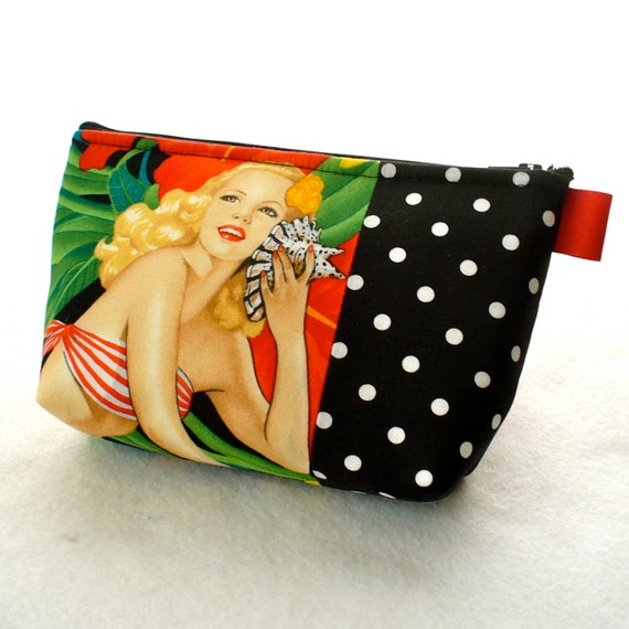 Mahola Girls Tropical Hawaiian Aloha Pin-Up Girl Fabric Large Pouch Cosmetic Bag Zipper Pouch Makeup Bag Alexander Henry Black White Red
