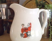 Vintage Norman Rockwell Pitcher ~ The Day After ~ White Pitcher Ironstone Christmas ~ John Hobgood