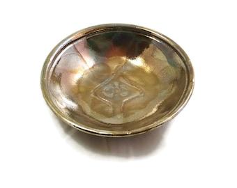 Runes Bowl in Gold Raku Pottery Ceramic