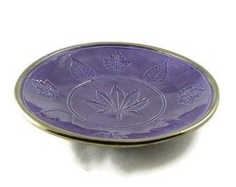 Bodhi, Hemp-Marajuana and Maple leaves Offering Bowl Handmade Pottery