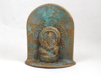 GANESH Ganesha Altar Sculpture Raku Handmade Pottery