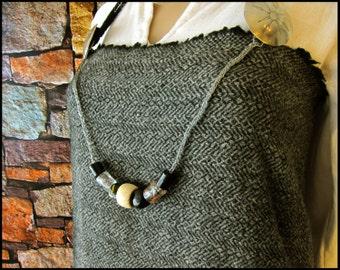 Viking Bead Strand - Viking Knit Chain with Glass and Bone Beads