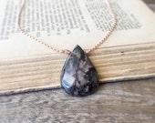 Rhodonite Pendant, Rose Gold Necklace, Pink Stone Pendant, Pink Gold Necklace, Black Rhodonite Jewelry, Bohemian Natural Stone Teardrop