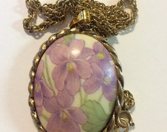 vintage egg shell pendant purple flowers