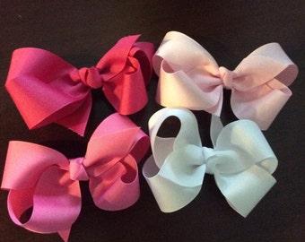 Multi-colored grosgrain ribbon hair bows