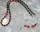 Red and Black Morrigan Pagan Rosary #2