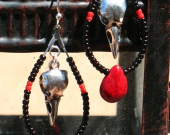 Black and Red Raven Skull Morrigan Goddess Earrings