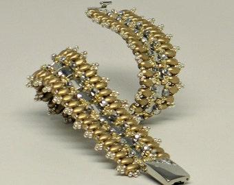 Bracelet with Tila beads,Silver bracelet seed beads,SuperDuo beads, silver beaded Bracelet, Gold Bracelet,Cuff