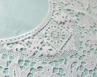 French lace collar, vintage lace collar,sqaure back collar, vintage dressmaking, white lace, cotton lace. lace trim