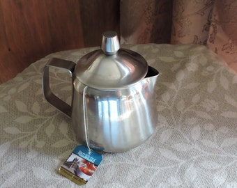 Teapot Prop Stainless Steel With Fake Tea and a Teabag Inside Fake Food Photo Prop