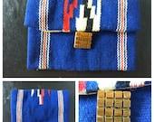 Vintage 1940s El Grande Fred Harvey Blue Chimayo Double compartment Clutch Purse