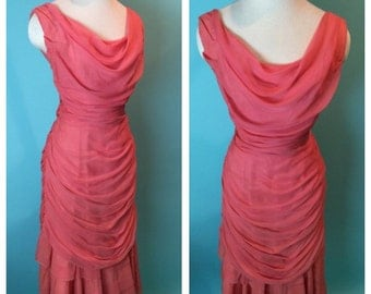 Vintage 1950s Coral Draped Dream Mermaid Hem Cocktail Wiggle Dress Large