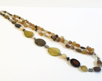 Big bold Chunky Necklace, Yellow, Brown, Long, Gemstone Necklace Earring Set