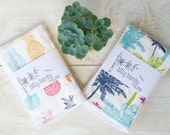 Hawaii / Tropical Baby Burp Cloth Gift Set - Pineapples and Palm Trees Baby Burp Cloth - Maui, Hawaii by bitty bambu