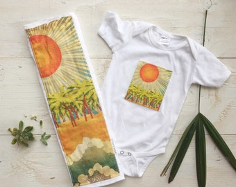 Baby Gift Set - Burp Cloth and One Piece for Baby - Ocean / Sea   / Palm Trees - Newborn, Baby / Layette Set Size made in Maui, Hi