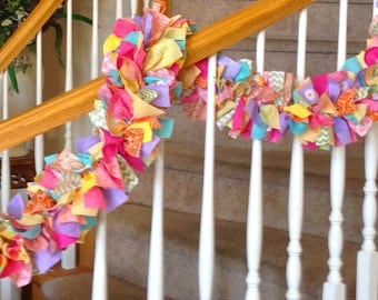 7 foot Bright  Fabric Garland NO Ornaments,Decoration for the home,Party Decoration,Fabric Garland,Spring and Summer Garland,Rag Garland