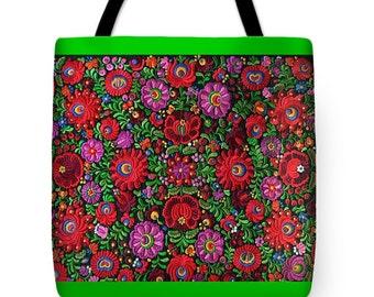 Tote Bag Hungarian Magyar Folk Embroidery Matyo Print Handbag in 3 sizes and border colors HOT Fashion Accessory