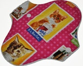 Heavy Hemp Core- Cat Portraits Reusable Cloth Pantyliner Pad- WindPro Fleece- 8.5 Inches