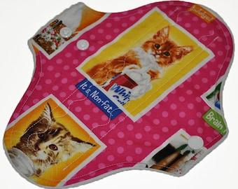 Heavy Hemp Core- Cat Portraits Reusable Cloth Pantyliner Pad- WindPro Fleece- 8.5 Inches