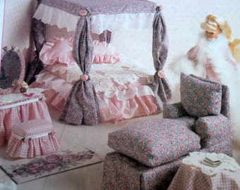 barbie doll furniture sewing pattern mccalls 8140 11 12 fashion doll bedroom and living room furniture uncut pattern bedroom furniture barbie ken